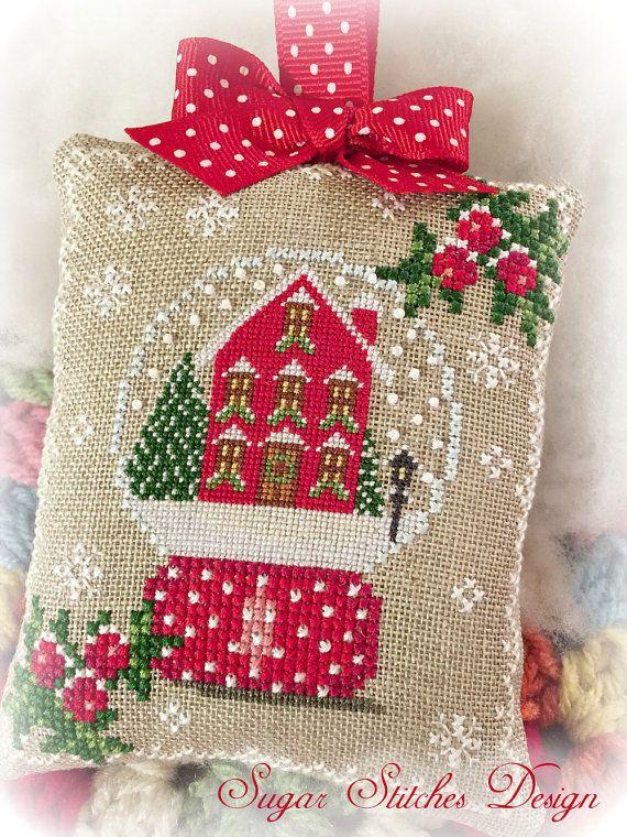 Nieve lugar como el hogar navidad ornamento PDF Digital de punto de cruz patrón