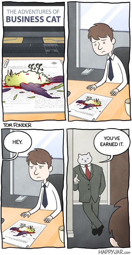 Business Cat gives a pay raise