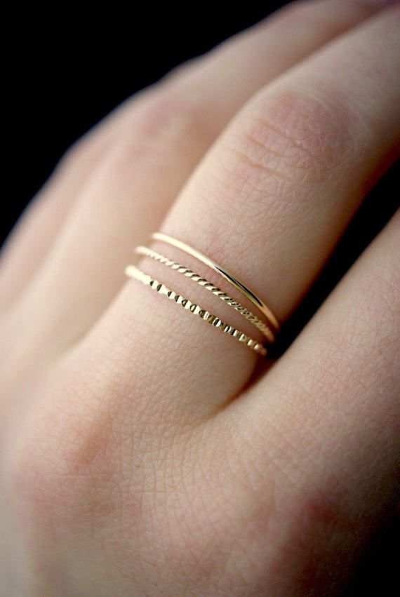 Mixed Texture Gold stacking ring set, gold stack ring, ring set, gold fill set, delicate gold ring, lined ring, twist ring, set of 3