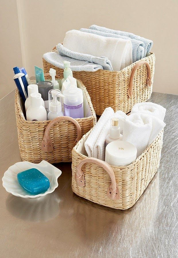 224 best organize baskets bins boxes images on pinterest for Small bathroom hamper ideas