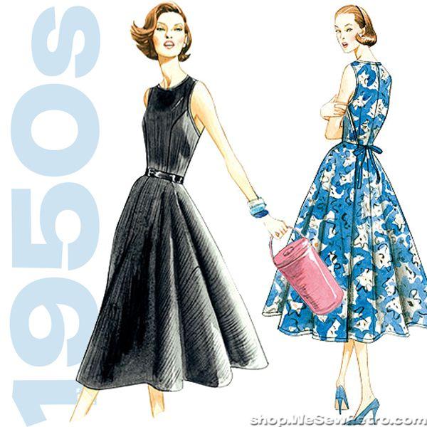 1950s Vintage Vogue Sewing Pattern: Back Wrap Dress Pattern. Vogue V8788