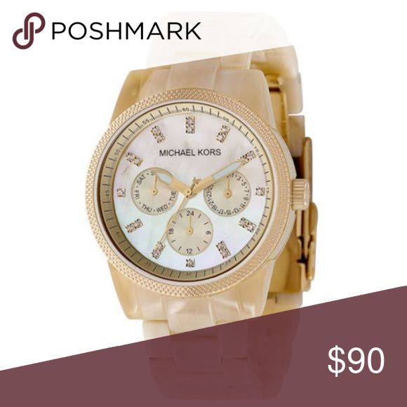 Michael Kors Jetset Mother Of Pearl Women's Watch Michael Kors Jetset Mother Of Pearl Women's Mk5039 Resin Watch. Needs new battery ($2). Has two links taken out so will fit fairly small wrist. I do not have the links. Will post picture of watch on my wrist tonight! Michael Kors Accessories Watches