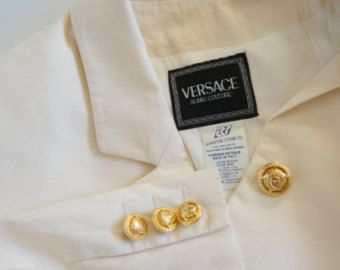 Versace Jeans Couture vintage cotton jacket cream color gold medusa buttons - Edit Listing - Etsy