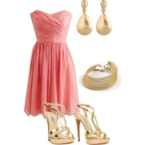 : Parties Outfits, Blushes Pink, Dreams Closet, Bridesmaid Colors, Coral Bridesmaid Dresses, The Dresses, Gold Bridesmaid, Gold Accessories, Pink And Gold