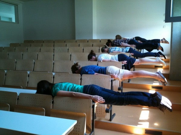 Students planking safely