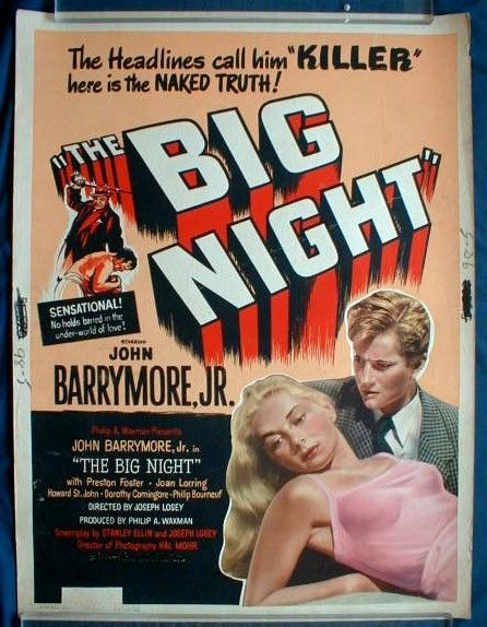 "THE BIG NIGHT MOVIE POSTER! John Barrymore, Jr. Film Noir-1951-Rolled 30"" x 40"""