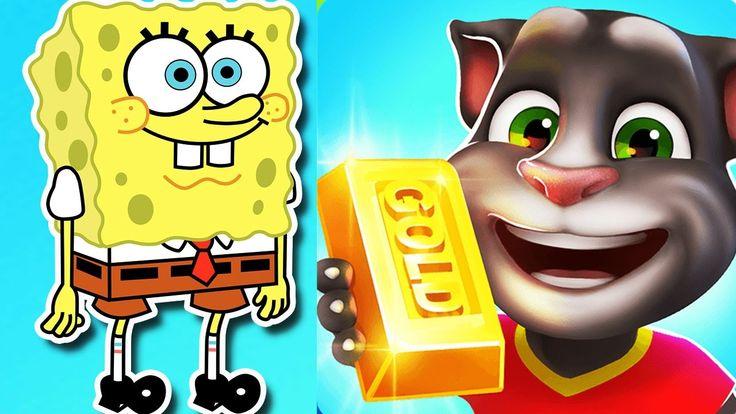 Fun kids video games SpongeBob Game Station vs My Talking Tom Gold Run C...