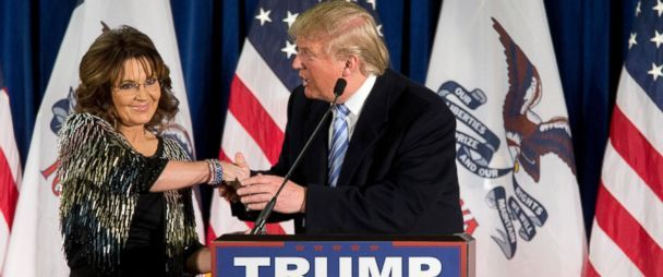 PHOTO: Former Alaska Gov. Sarah Palin, left, endorses Republican presidential candidate Donald Trump during a rally at the Iowa State University, Jan. 19, 2016, in Ames, Iowa. The idiot from Alaska will be his Veterans Affairs person, oh boy aren't we the lucky ones!  :(