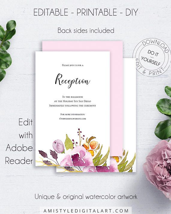 Marsala Boho Reception Enclosure, with trendy and special watercolor floral design, in boho and chic style.This graceful wedding reception insert card template is an instant download EDITABLE PDF pack so you can download it right away, DIY edit and print it at home or at your local copy shop by Amistyle Digital Art on Etsy