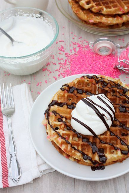 Cake Batter Waffles. I love that this recipe doesn't call for a mix!