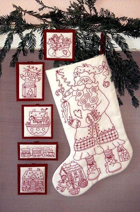 Santa and Toys RedWork / Christmas Stocking by ChristmasJul, $9.00