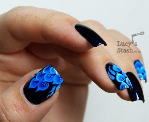 modele unghii cu gel albastre