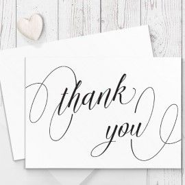 Modern Wedding Thank You Card in Black and White or your choice of colours | Peach Perfect