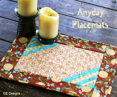 "This free quilt pattern and tutorial is for ""Anyday Placemats"".  They'll look beautiful on your table."