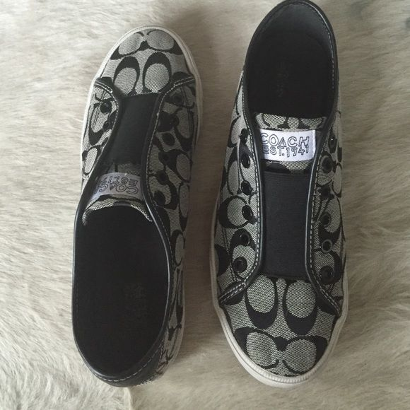 Coach tennis shoes Cute and comfy slip ons. No laces with elastic Coach Shoes Sneakers