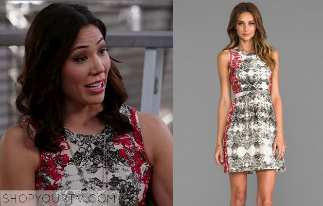 Next stop: Pinterest  http://www.shopyourtv.com/2014/02/bones-season-9-episode-15-angelas-white-red-print-dress/
