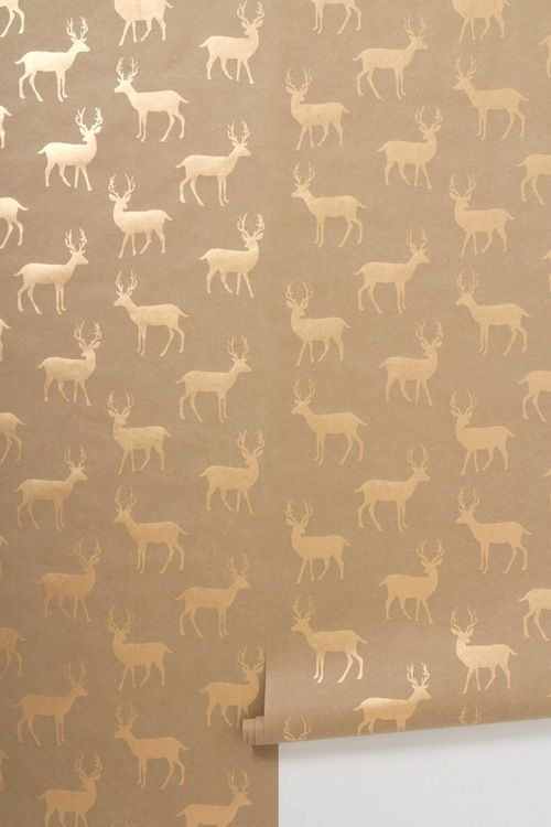 [Metallic Stag Wallpaper by Anthropologie]