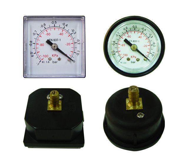 For measuring gases, air, water and oils when equipment or processes require a panel mounted gauge. There is two quick hooks on both of the case side and have round and square plastic cases for choice.