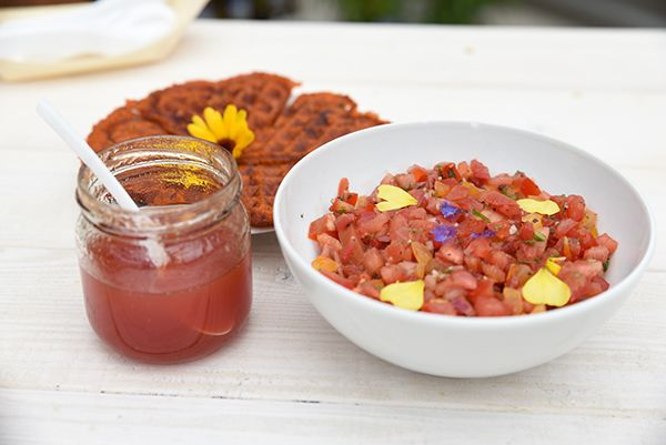 Tomaten-marmelade, Tomaten-Waffeln und Bruschetta