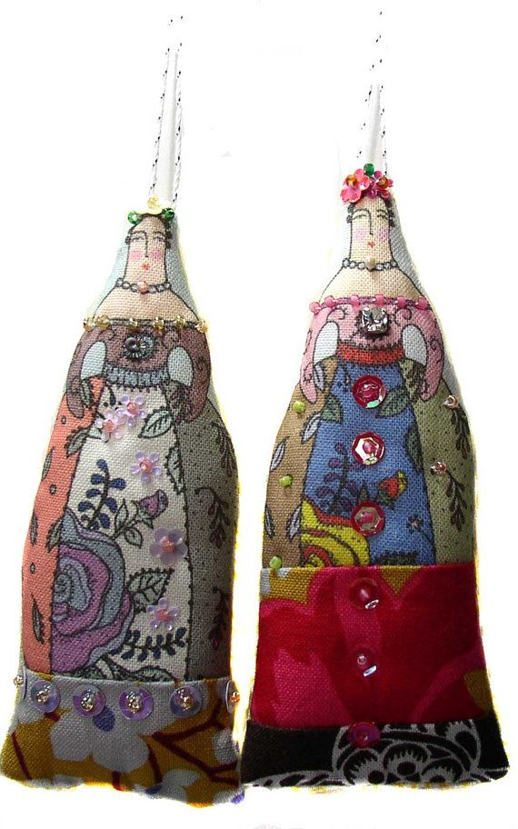 2 small textile art cloth art doll flower ladies by theresahutnick, $14.00