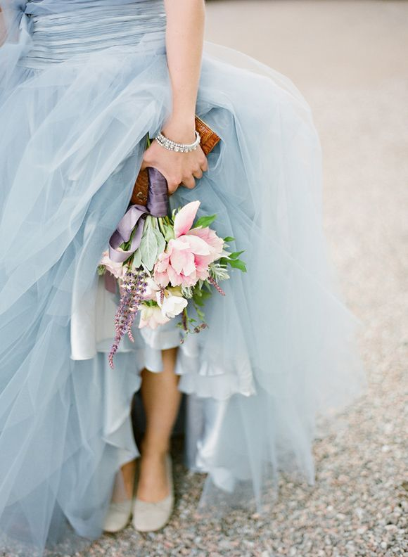 Pale blue wedding dress (the bouquet matches perfectly ... and the shoes a nice touch