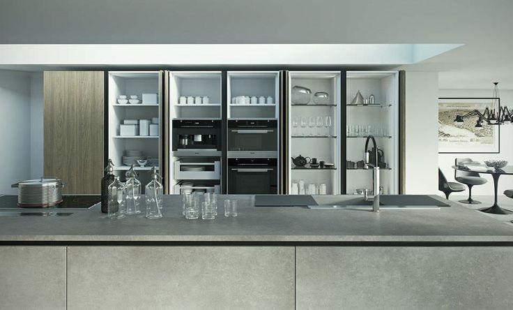 Moderne küche holz versteckte einziehbaren türen lamina