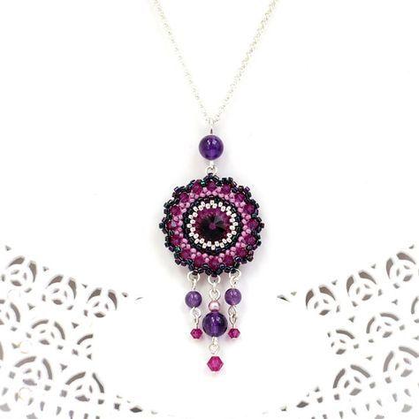 chandelier jewelry, dangle pendant , purple swarovski necklace, purple statement necklace, Evening jewelry, bead weave necklace