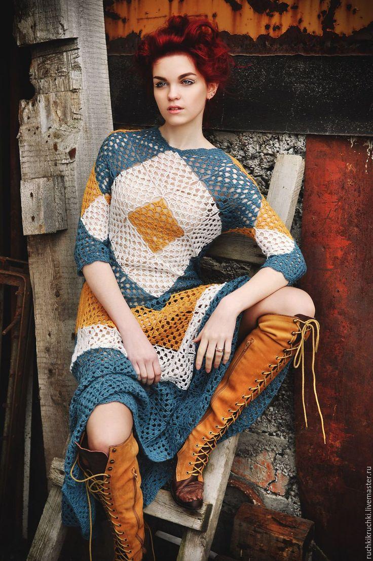 """Купить Платье """"Мишень: сердце"""" крючком из альпака/кашемир - морская волна, в клеточку, платье, платье вязаное"""