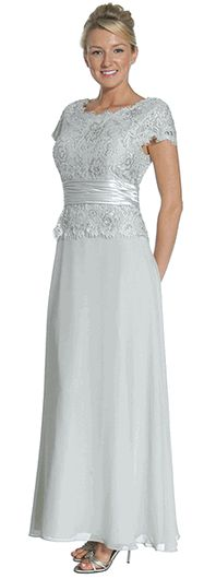silver stretch lace mother of the bride dresses   Silver Lace Top Chiffon Skirt Mother of Bride/Groom Formal Wedding ...