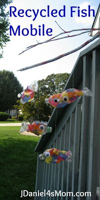 Recycled Bottle Fish Mobile #crafts #upcycle aww these would be so cool for decoration when kids our young!