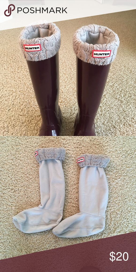 "Tall cable knit cuff well socks for hunter boots Socks for tall hunter boots in color ""griege"" which is a light grey. Fleece bottom with foldover top in cable knit. Only for sale if you want the boots in my other listing. Hunter Accessories Hosiery & Socks"