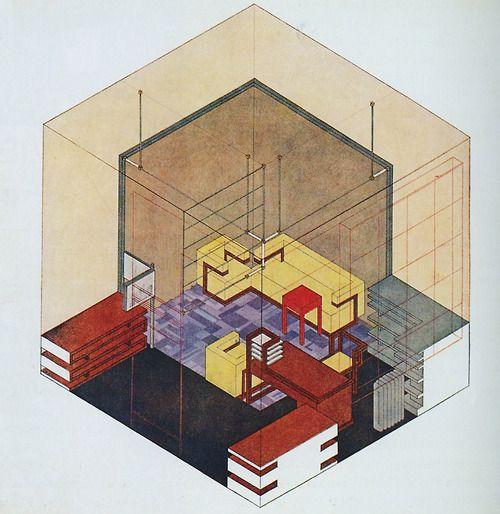 Bayer, Herbert - Isometric Drawing, Walter Gropius's Study, Weimar Bauhaus (1923)