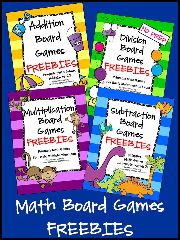 FREEBIES - Math Board Games - fun, no prep, games!