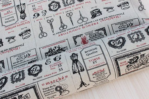 Vintage fabric,cotton linen fabric,french script fabric,zakka linen fabric,curtain fabric,cushion fabric,tablecloth fabric,shabby chic fabrc