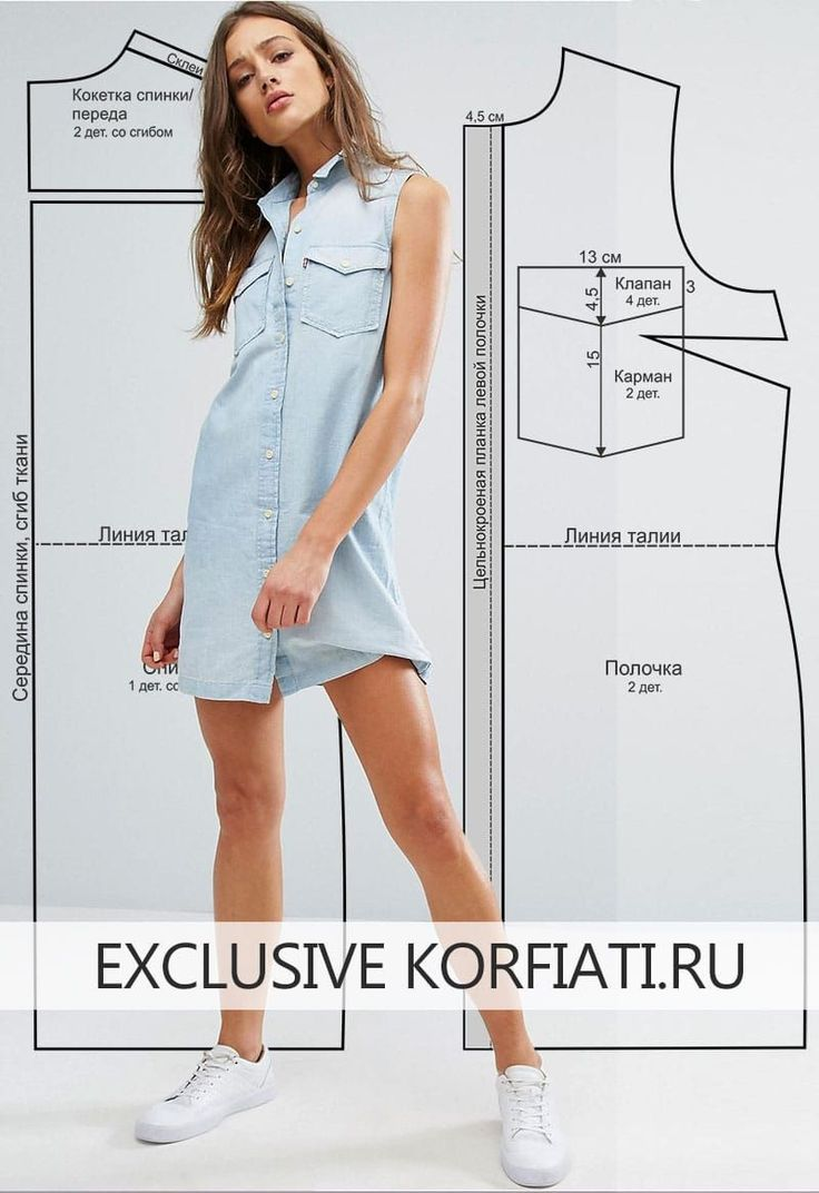 Выкройка платья-рубашки без рукавов в стиле вестерн. Минимум швов - максимум комфорта! Для пошива этой модели вам потребуется натуральный лен голубого цвета