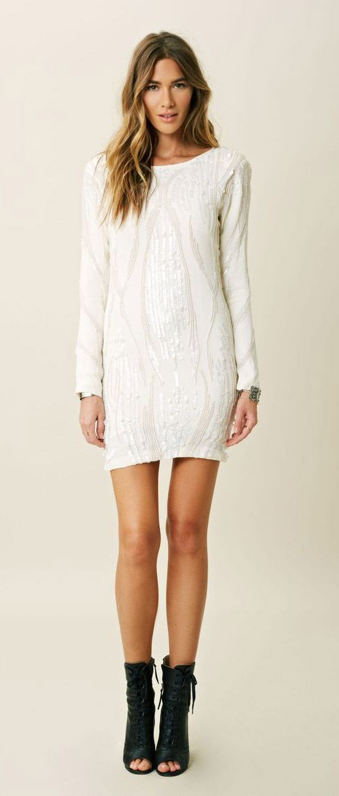 Blessed Are The Meek Texture Long Sleeve Dress in White (IVORY)