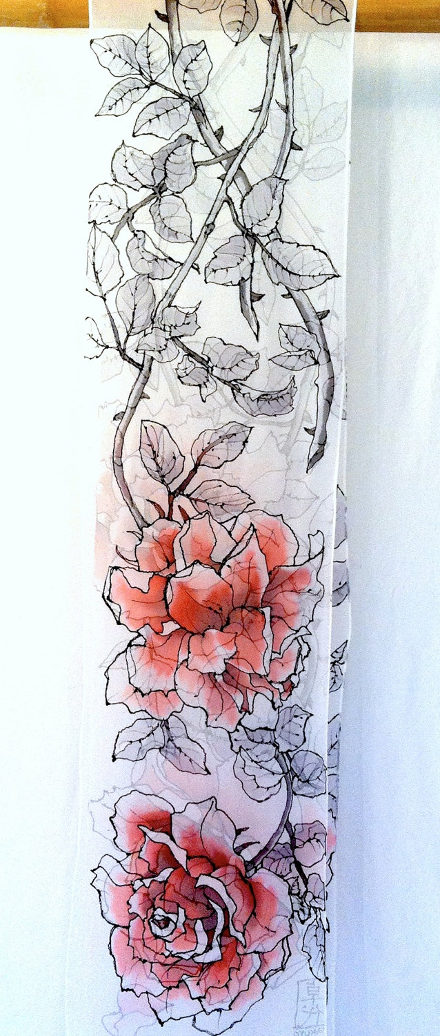 Gorgeous hand painted silk scarf