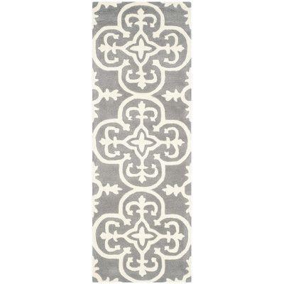 "Varick Gallery Wilkin Dark Grey / Ivory Contemporary Rug Rug Size: Runner 2'3"" x 7'"
