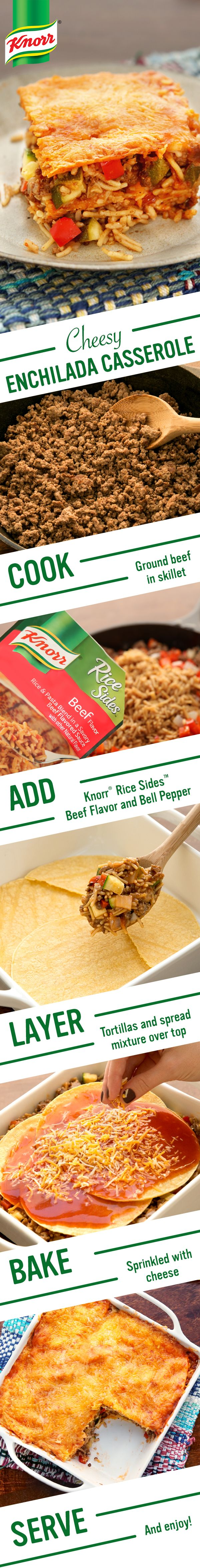 Celebrate Cinco de Mayo with Knorr's flavorful Beef & Cheese Enchilada Casserole. Follow these easy steps for a delicious family supper: 1. Cook ground beef & onion 2. Add Knorr® Rice Sides™ - Beef flavor & bell pepper. Stir in zucchini & enchilada sauce 3. Layer tortillas, spread mixture, sprinkle cheese, & bake. Serve & enjoy!