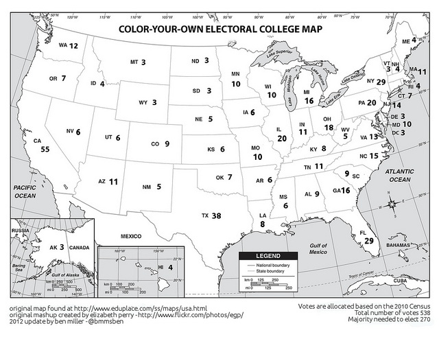 Electoral College Coloring Map 2012 by bmmsben, via Flickr