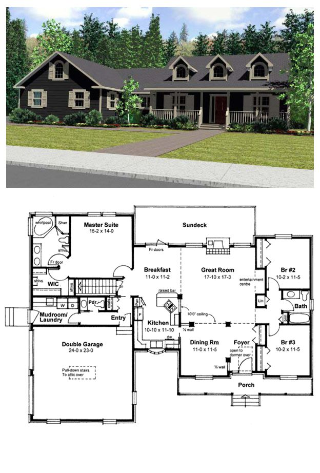 House Plan 99923 | Total living area: 1910 sq ft, 3 bedrooms & 2.5 bathrooms. Could extend master closet into stair area.