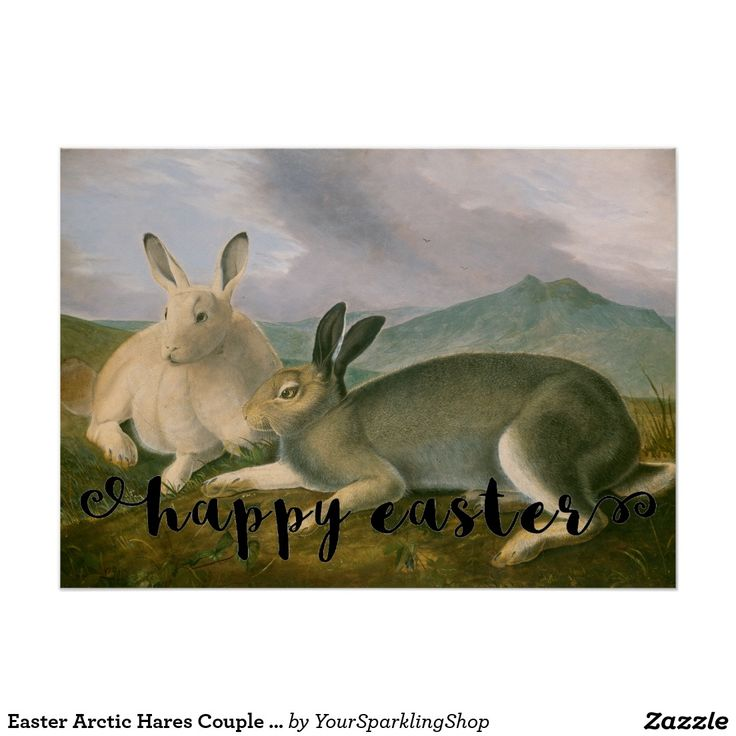 #HappyEaster Arctic #Hares Couple Landscape Watercolor #Poster #EasterDecor