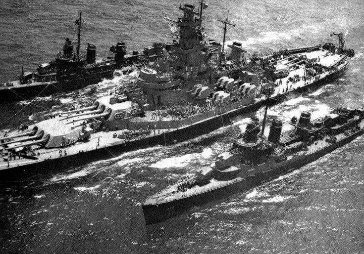 USS Massachusetts (BB-59) refuels Fletcher class destroyers 1945 - USS Massachusetts (BB-59) - Wikipedia