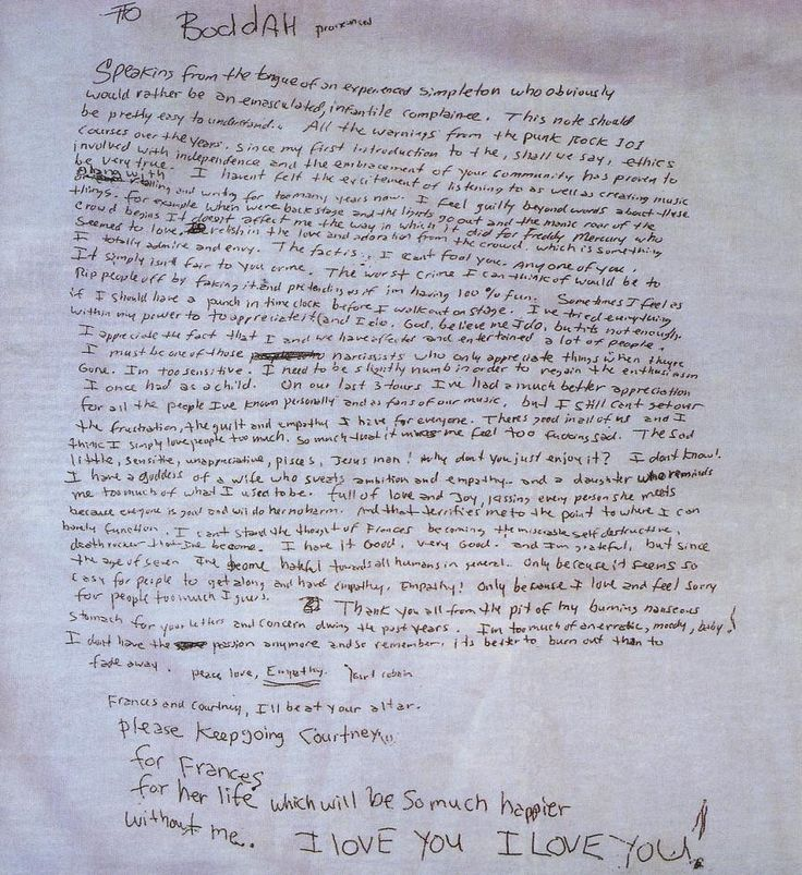 """Justice For Kurt Cobain - Investigation - Case Documents - """"Suicide Note"""" Scan"""