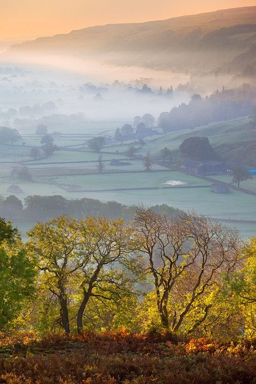Upper Wharfedale, Yorkshire Dales, England. It is the upper valley of the River Wharfe. The name Wharfe is Celtic and means 'twisting, winding'. (V)