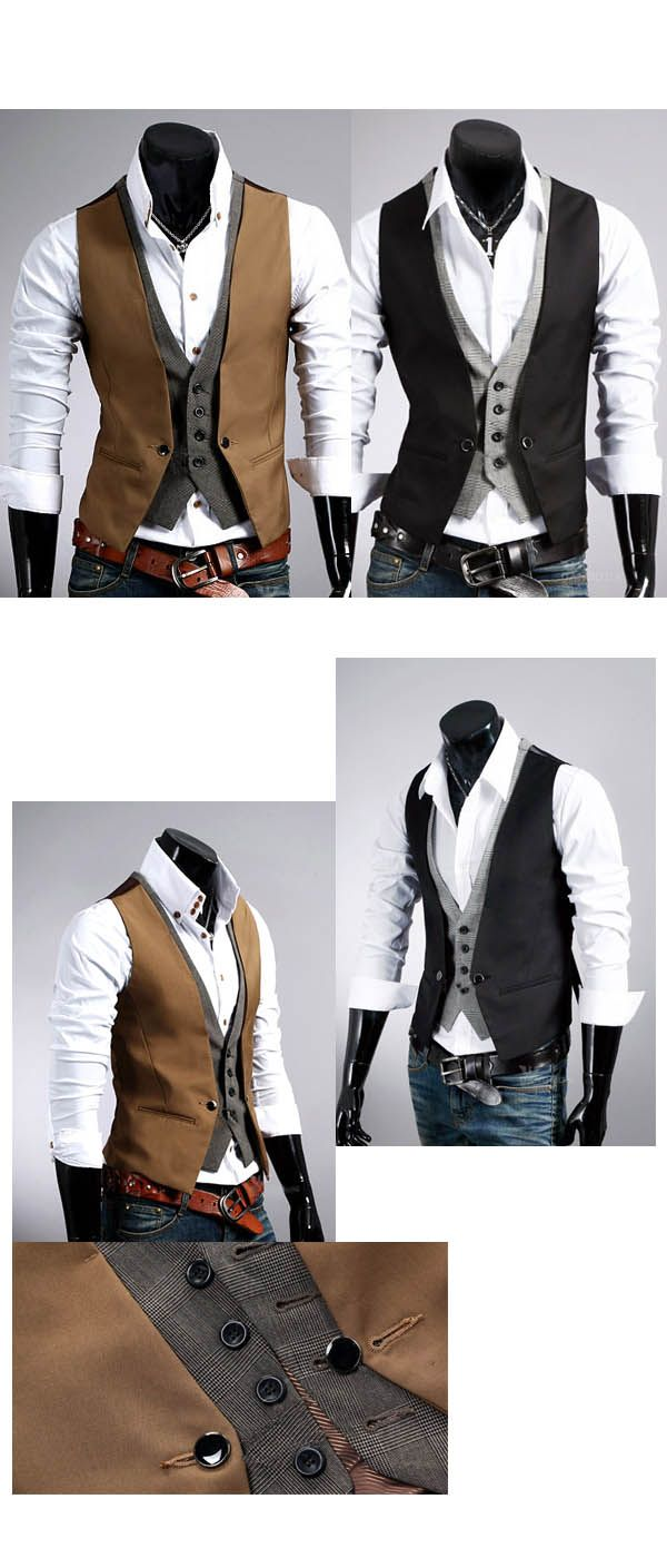 Gilet Veston Costume homme habille Fashion double effet Smart Marron