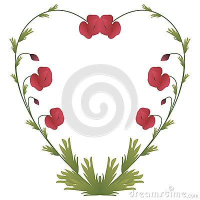 #Heart #shape made of #poppy #flowers and #leaves