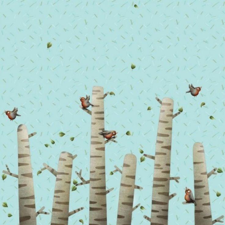 Roodborstjes katoen Finch Fabrics