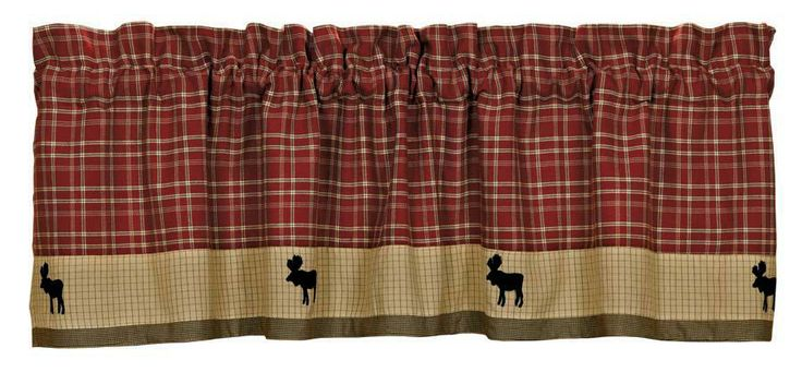 Backwoods Moose Lodge Curtain Valance, rustic cabin curtain