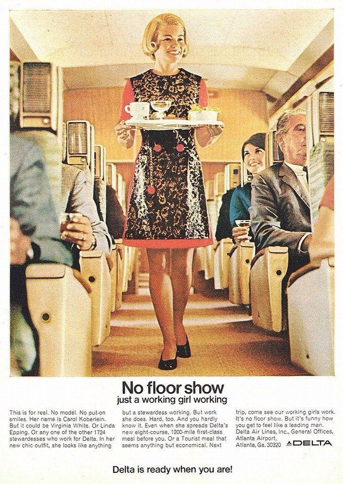 1969 Delta Airlines Stewardess Flight Attendant No Floor Show Delta Airlines Vintage Airline Posters Stewardess